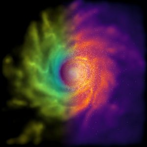 Simulated pinwheel galaxy image, from above, divided by color, green on left, red on right.