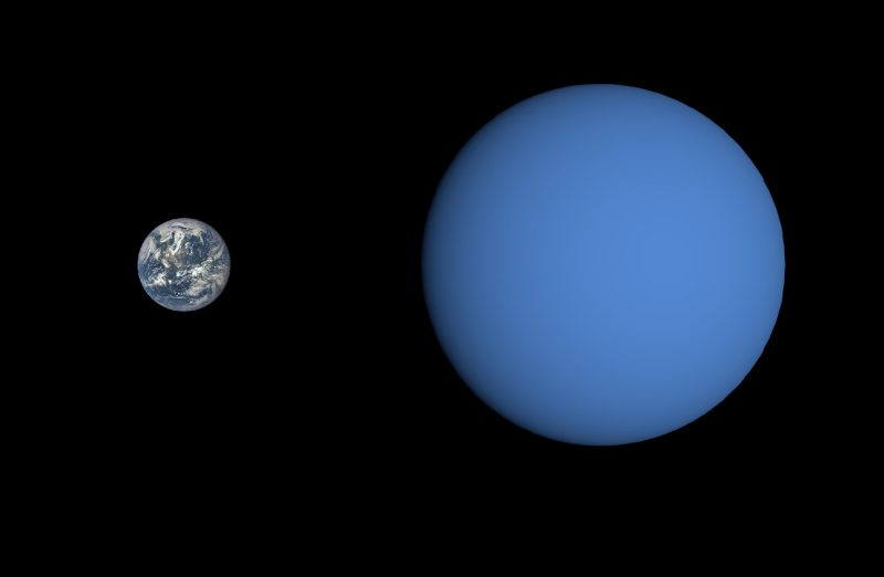 Earth next to a larger featureless blue planet.