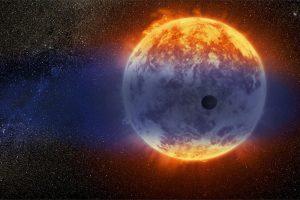 Mini-Neptune planet orbiting red dwarf star.