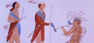 Drawing: Three men in Native American garb