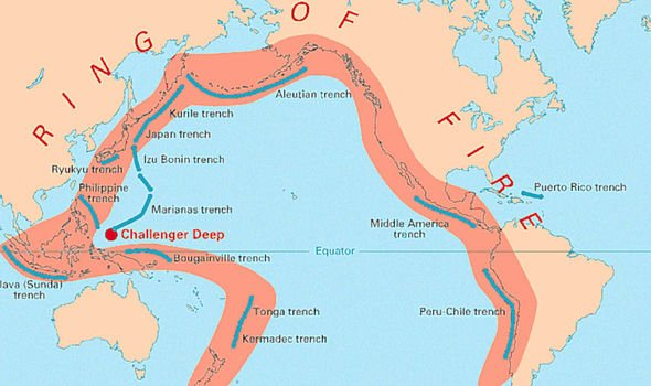 Map of East Asia, Pacific Ocean, and Americas with wide stripe around edges of ocean.