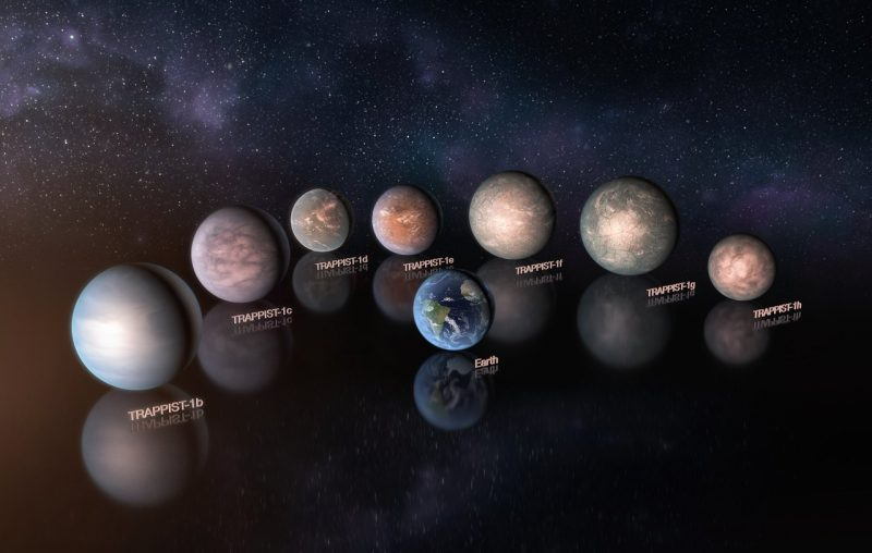 Seven roughly Earth-sized exoplanets with Earth for comparison.
