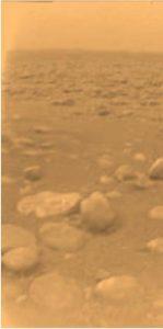 Hazy sky and rocks on Titan.