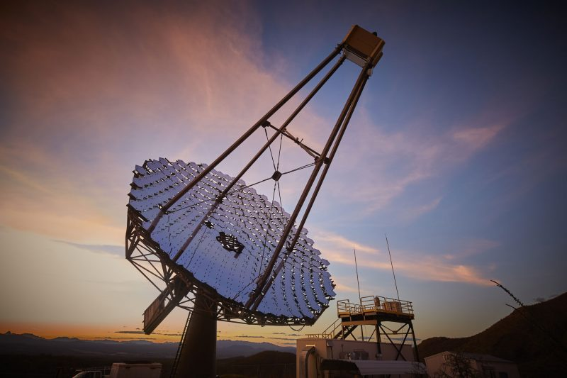 Dish-style telescope made up of many panels, pointing at the sky.