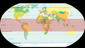 World map showing tropics and subtropics.
