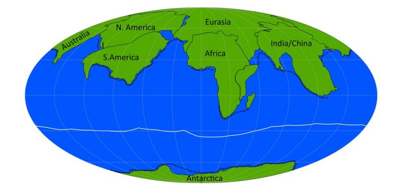 Stretched globe map with most continents at north with Antarctica at bottom.