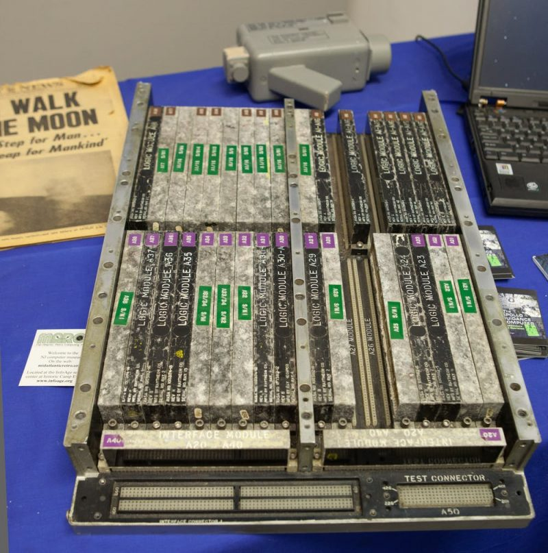 Rows of large chunky, thick circuitry about five times bigger than a laptop.