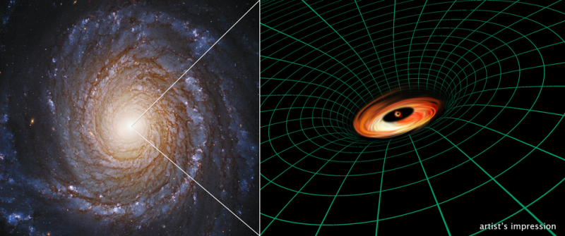Right, a face-on spiral galaxy. Left, drawing of black hole and disk with curved radial lines.