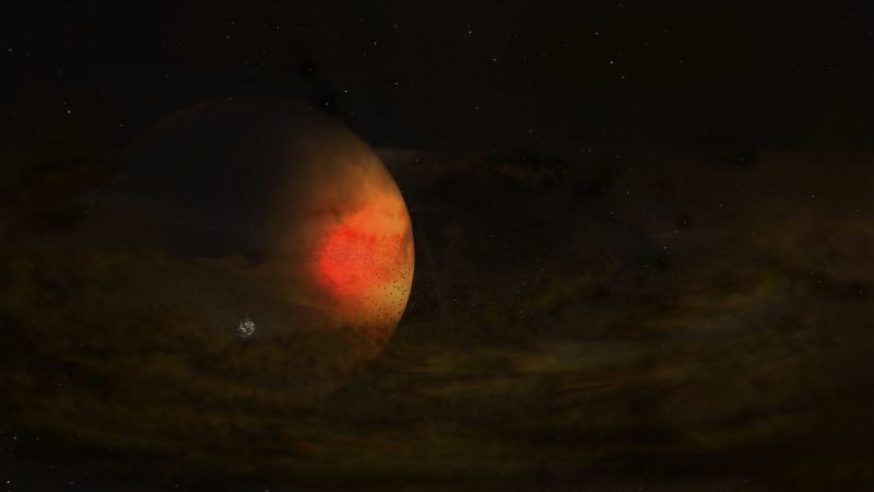 Tenuous gas and dust disk with small moon in it surrounding a big planet.