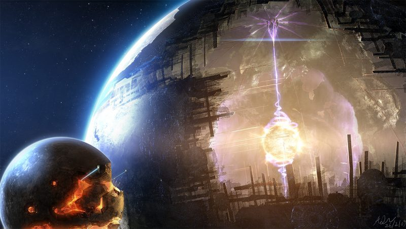 Giant hollow Dyson sphere under construction around star using materials from a nearby planet.