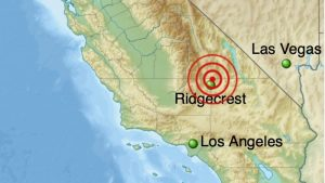 Map showing July 6, 2019 earthquake epicenter. It is north of a line - about equidistant - from Los Angeles and Las Vegas, Nevada.