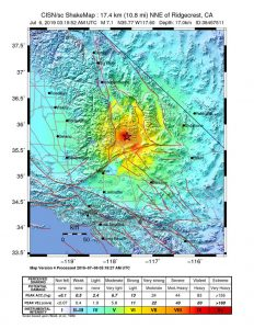 A map showing decreasing quake intensity as you go outward from the epicenter of the Ridgecrest quake of July 6, 2019.