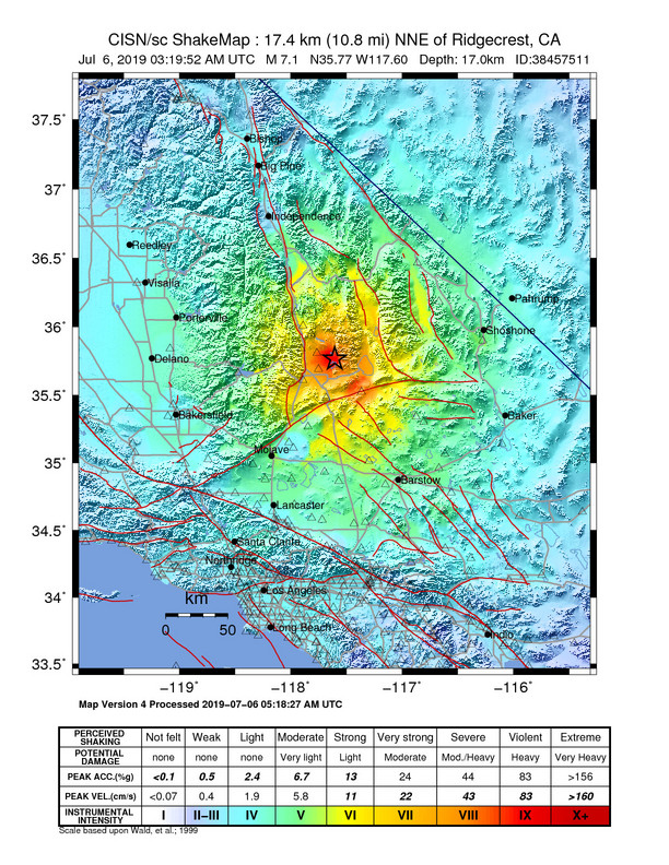 A map showing decreasing quake intensity outward from the epicenter.