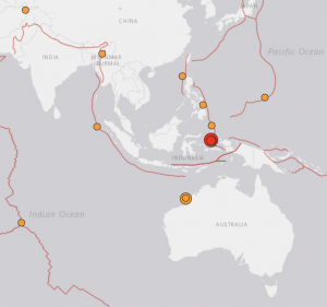 Map showing location of Australian and Indonesian earthquakes of July 14, 2019, plus smaller recent quakes.