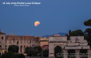 Poster showing a partial lunar eclipse, with time and date of online observing session.