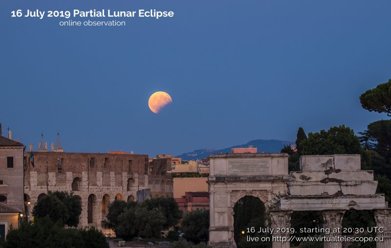 Partial lunar eclipse, deep yellow moon in deep blue sky, over ancient Roman ruins.