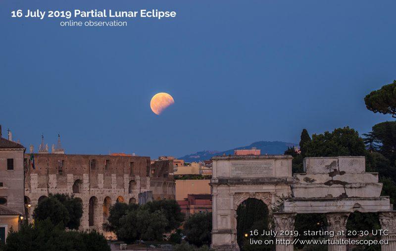 Partial lunar eclipse, deep yellow moon in deep blue sky, over ancient Roman ruins.