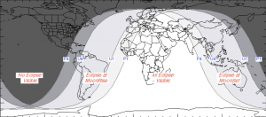 World map of partial lunar eclipse, July 167-17, 2019.