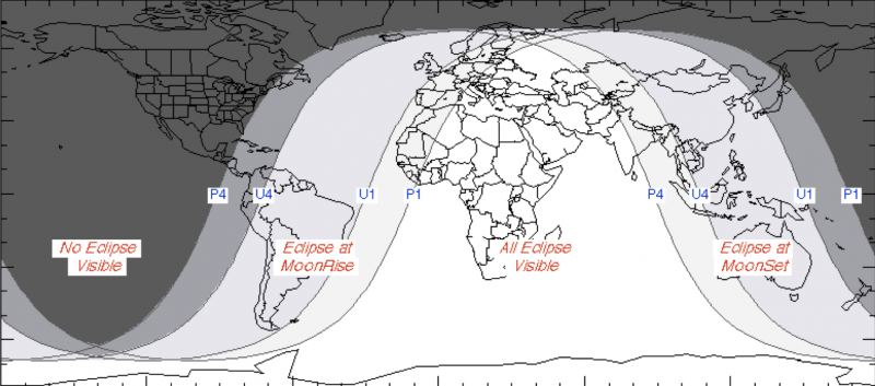 World map with lines showing outer edges of eclipse.