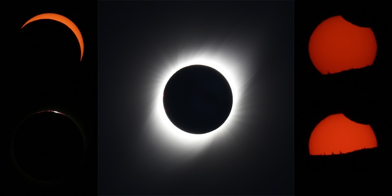 Totally eclipsed sun with corona and panels showing stages of eclipse.