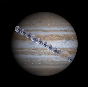 Earth and Jupiter size comaprison