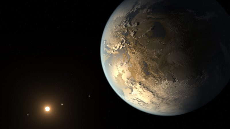 Tan planet with features visible, distant sun-like star and bright dots of other planets.