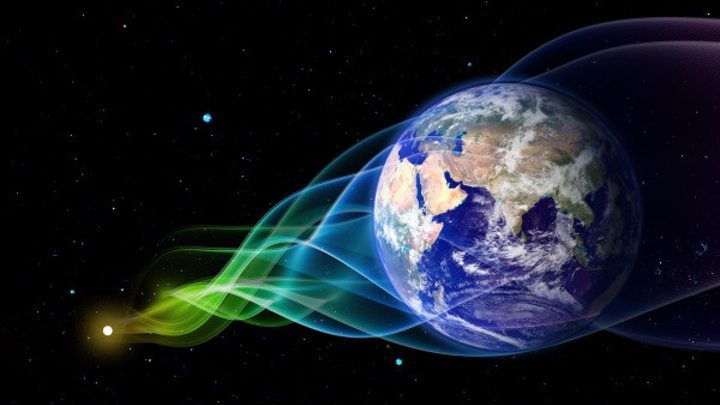Globe of Earth with wavelike streamers from distant dot, representing laser pulses reaching Earth.