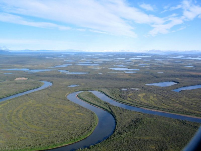 Aerial view of flat green land with meandering river and many lakes.
