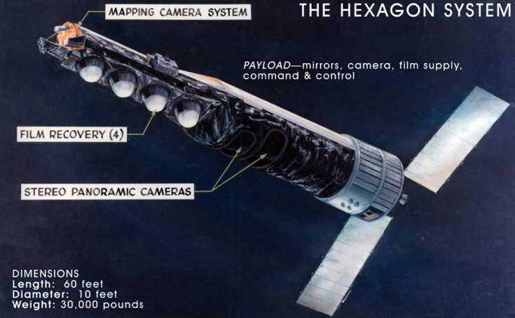60-foot-long cylindrical satellite with cameras and two solar power wings.