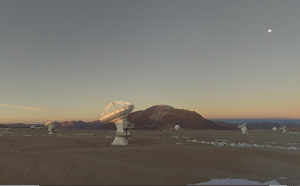 Radio dishes on a high plain in the Chilean Andes.