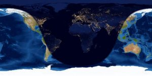 Worldwide map showing day and night sides of Earth at 30 hours past new moon.