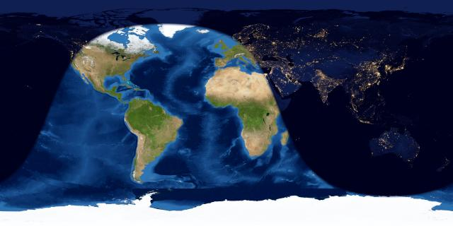 Worldwide map of day side from most of North America to most of Africa.