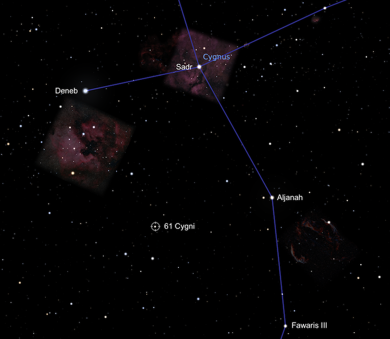 A star chart with many white stars, including 61 Cygni, against a black sky with a couple of nebulae visible.