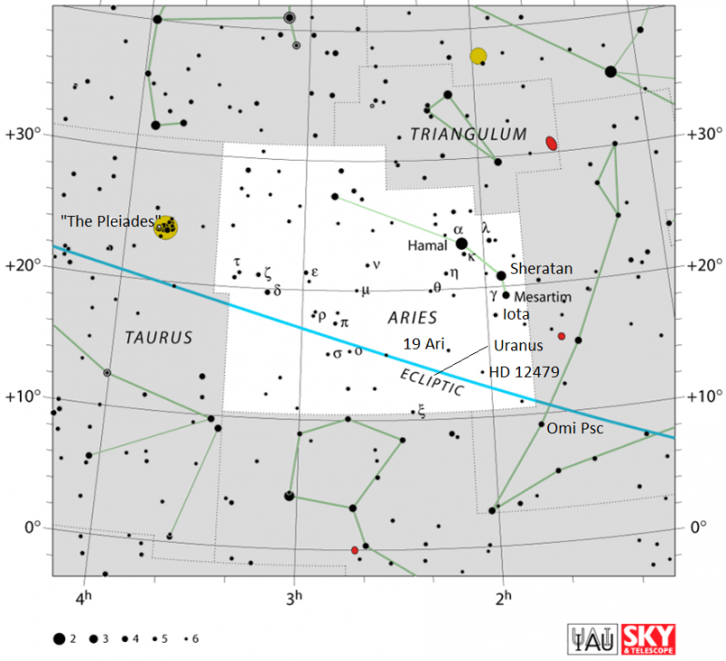 Sky chart of the constellation Aries the Ram with stars in black on white.