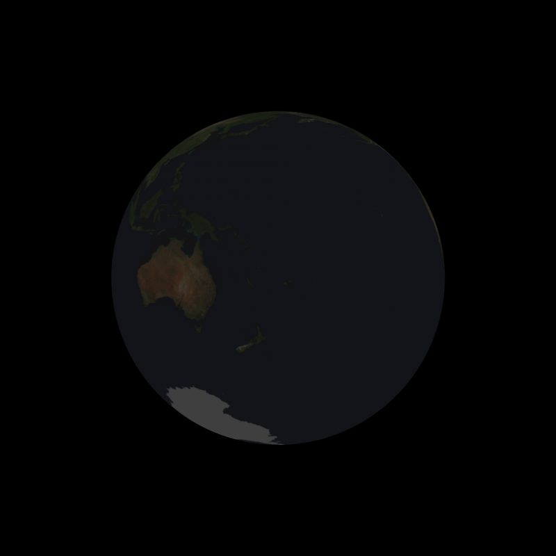 Completely dark Earth from the vantage point of the full moon.
