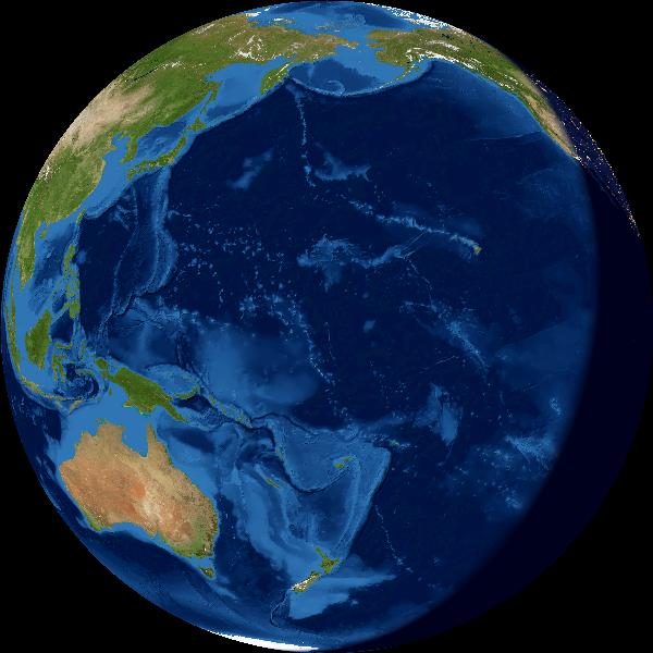 View of almost-full Earth with East Asia and Australia on left, dark crescent on right.