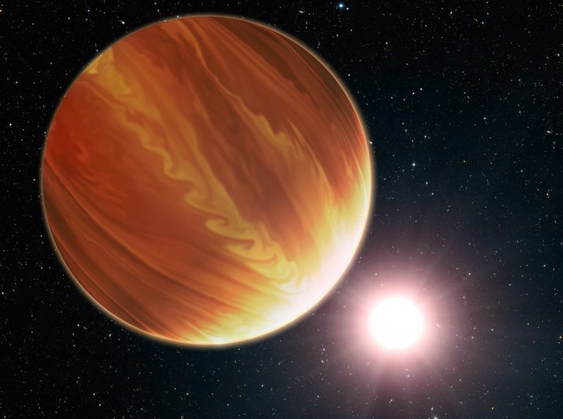 Large orange exoplanet with parallel swirling bands like Jupiter's.
