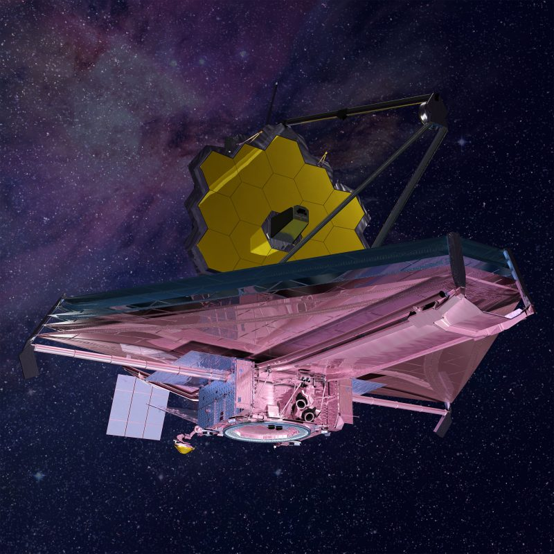 Large pink triangular spacecraft with array of gold hexagons at right angle to it.