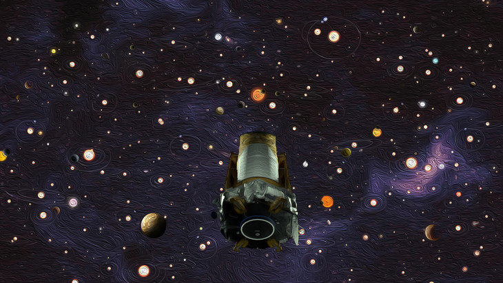 Cylindrical spacecraft with very many planets of varying sizes in background.