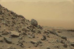 Rocks on a cliff on Mars.