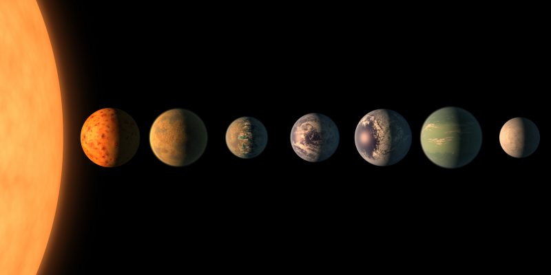 Seven roughly Earth-sized planets lined up next to a much larger sun.