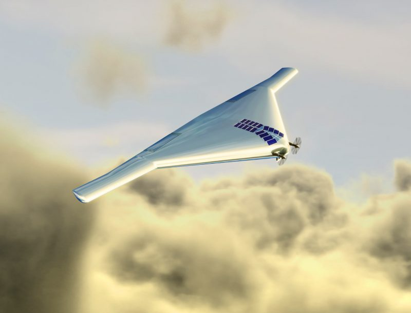 Flying wing aircraft with two small propellers and solar panels on top above clouds.