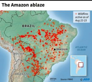 Map showing location of Amazon fires as of August 22-23, 2019.