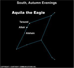 Star chart of constellation Aquila with Altair and other stars labeled.
