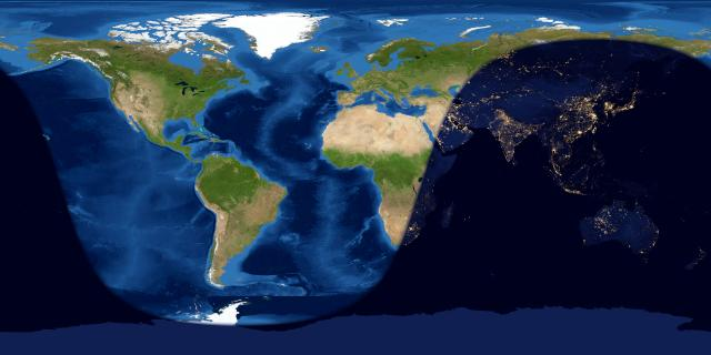 Map of Earth with half in shadow.