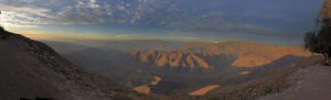 Spectacular view of mountains and valleys in the Chilean Andes.
