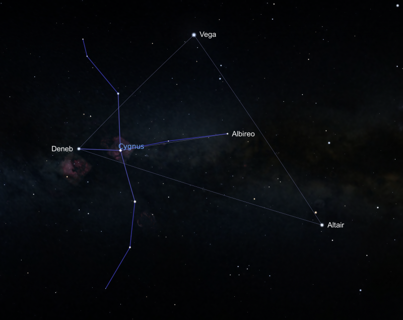 A star map showing Cygnus against a black sky with nebulous hints of the Milky Way Galaxy in the background. Stars are in white, with constellation lines in blue.