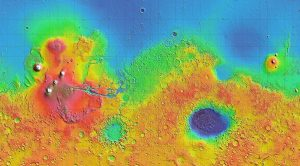 Colored map of Mars.