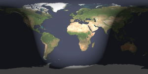 Day and night sides of Earth at full moon.