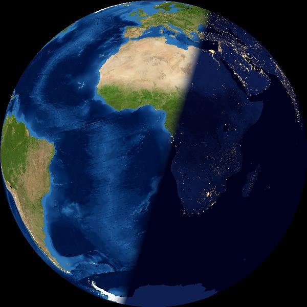 Whole Earth, left half in light, right half in darkness.